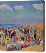 Crowd At The Seashore Canvas Print