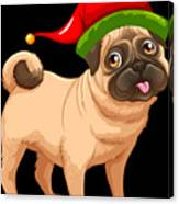 10b917fdc1126 by Louise Lench. Cute Pug In A Christmas Elf Hat Canvas Print. Wall Art