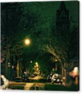 Dark Chicago City Street At Night Canvas Print