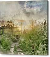 Digital Watercolor Painting Of Beautiful Vibrant Summer Sunrise  Canvas Print