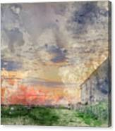 Digital Watercolor Painting Of Old Barn In Landscape At Sunset Canvas Print