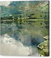 Digital Watercolor Painting Of Panorama Landscape Rowing Boats O Canvas Print