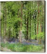 Digital Watercolor Painting Of Stunning Bluebell Forest Landscap Canvas Print
