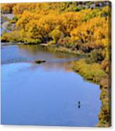 Distant Fisherman On The San Juan River In Fall Canvas Print