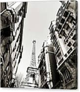Eiffel Tower  Between Buildings In Canvas Print
