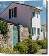 french houses in the streets of Saint Martin de re Canvas Print