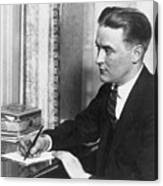F.scott Fitzgerald Writing At Desk Canvas Print