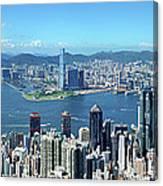 Hong Kong Victoria Harbor At Day Canvas Print