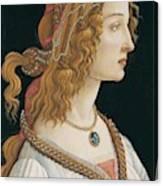 Portrait Of A Young Woman, Portrait Of Simonetta Vespucci As Nymph Canvas Print
