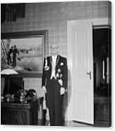 In The Photo The New President Of The Republic Urho Kekkonen Is Photographed At The Presidential Pa Canvas Print
