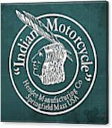 Indian Motorcycle Old Vintage Logo Green Background Canvas Print