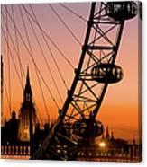 London Eye And Big Ben At Dusk Canvas Print