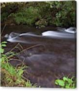 Long Exposure Photographs Of Rolling River With Fall Foliage Canvas Print