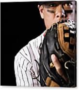 Mixed Race Baseball Player Pitching Canvas Print