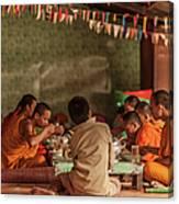 Monks At Breakfast, Wat Monastery Canvas Print