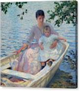 Mother And Child In A Boat Canvas Print