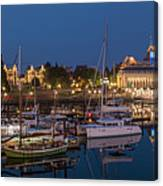 Panoramic Of Inner Harbor In Victoria Canvas Print