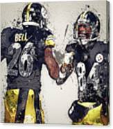 Pittsburgh Steelers.le'veon Bell And Antonio Brown Canvas Print