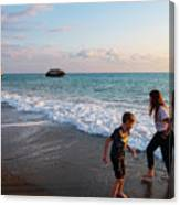 Playing Barefooted At Aphrodite's Birthplace Canvas Print