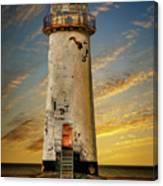 Point Of Ayr Lighthouse Sunset Canvas Print