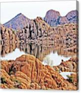 Prescott Arizona Watson Lake Rocks, Hills Water Sky Clouds 3122019 4868 Canvas Print