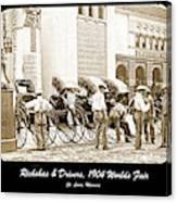 Rickshas And Drivers, 1904 Worlds Fair Canvas Print