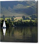 Sailboat On Ullswater In The Lake Canvas Print