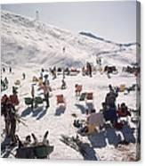 Skiers At Verbier Canvas Print