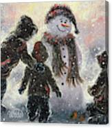Snowman And Three Boys Canvas Print