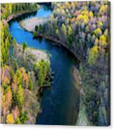 Springtime On The Manistee River Aerial Canvas Print