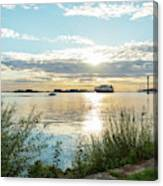 Sunset On The Elbe Canvas Print