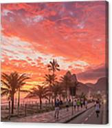 Sunset Over Ipanema Beach Canvas Print