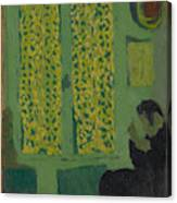 The Green Interior  Figure Seated By A Curtained Window   Canvas Print