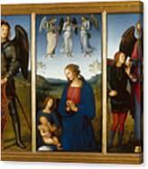 Three Panels From An Altarpiece  Certosa  Canvas Print