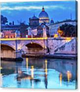 Vatican Dome And Tiber River, Ponte Canvas Print