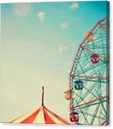 Vintage Colorful Ferris Wheel Over Blue Canvas Print