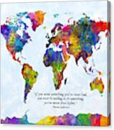Watercolor World Map Custom Text Added Canvas Print