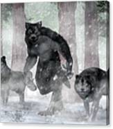 Werewolf And Wolves Canvas Print