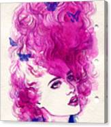 Woman Face. Hand Painted Fashion Canvas Print