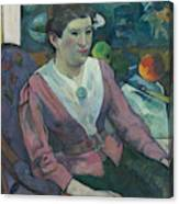 Woman In Front Of A Still Life By Cezanne Canvas Print