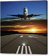 Xl Jet Airplane Landing At Sunset Canvas Print