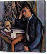 Young Man And Skull Canvas Print