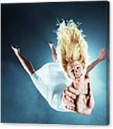 Young Woman In Air, Arms Outstretched Canvas Print