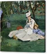 The Monet Family In Their Garden At Argenteuil  Canvas Print