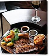 Sunday Roast Beef Traditional British Meal Set On Table Canvas Print