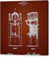 1876 Brewing Cooler - Dark Red Blueprint Canvas Print
