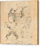 1880 Military Saddle Patent Print Antique Paper Canvas Print