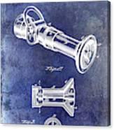 1896 Fire Hose Spray Nozzle Patent Blue Canvas Print