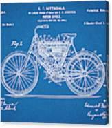 1901 Stratton Motorcycle Blueprint Patent Print Canvas Print