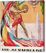 1920 Summer Olympics Vintage Poster Canvas Print